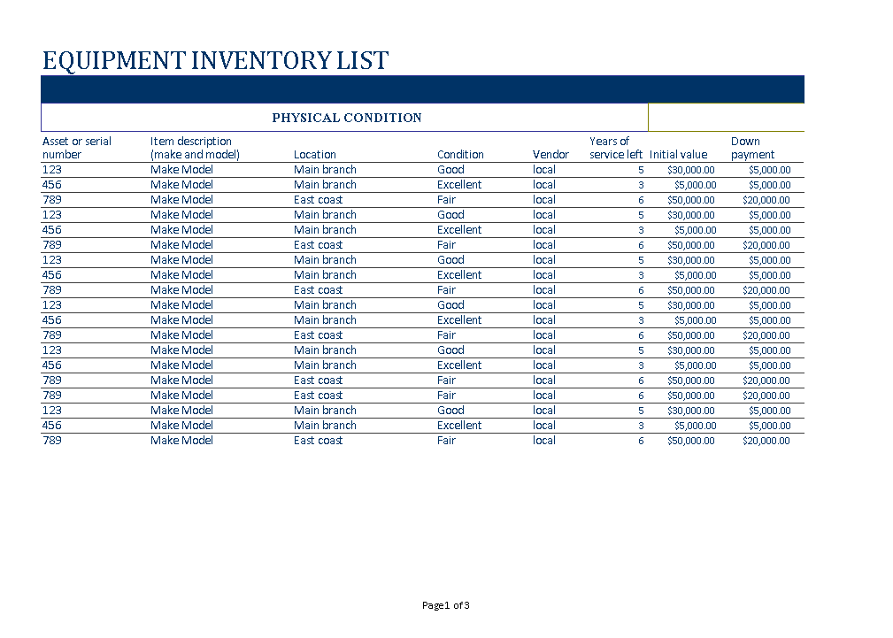 Free business equipment inventory list templates at business equipment inventory list main image download template accmission Choice Image