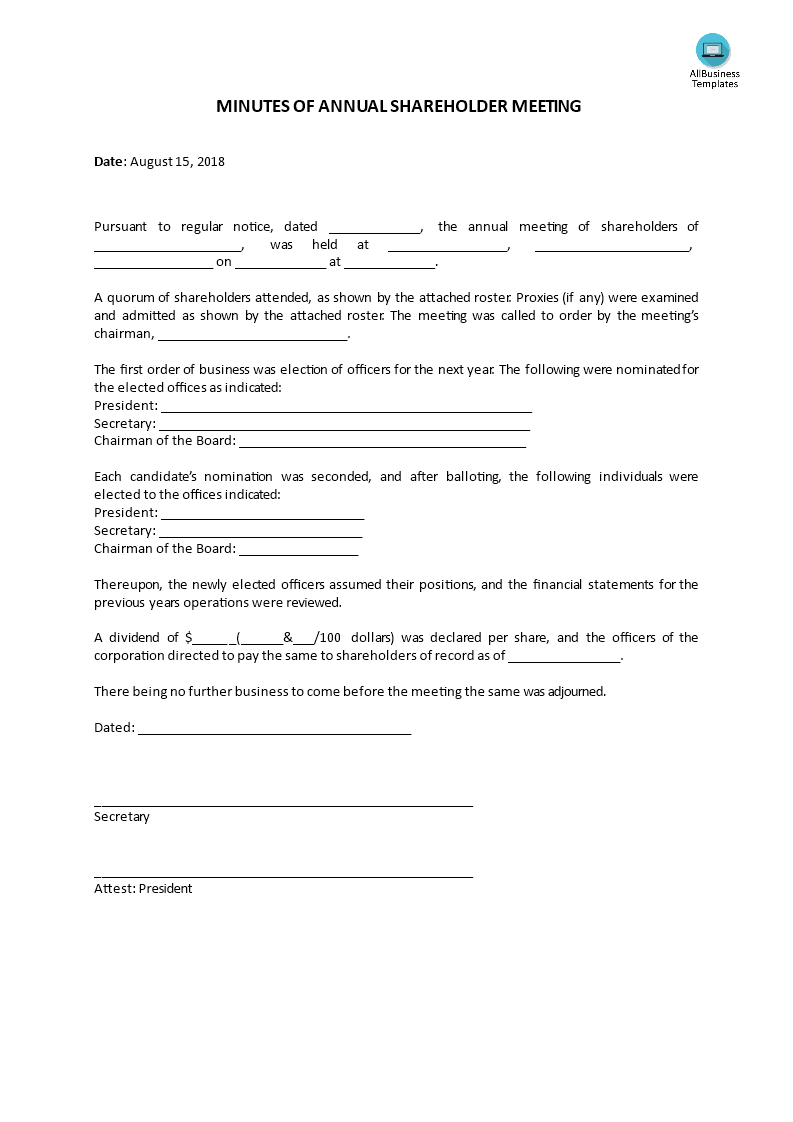 Minutes Of Annual Shareholder Meeting Templates At