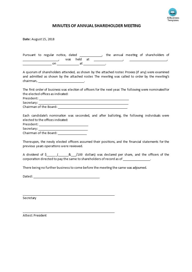 shareholder minutes template - Vatoz.atozdevelopment.co