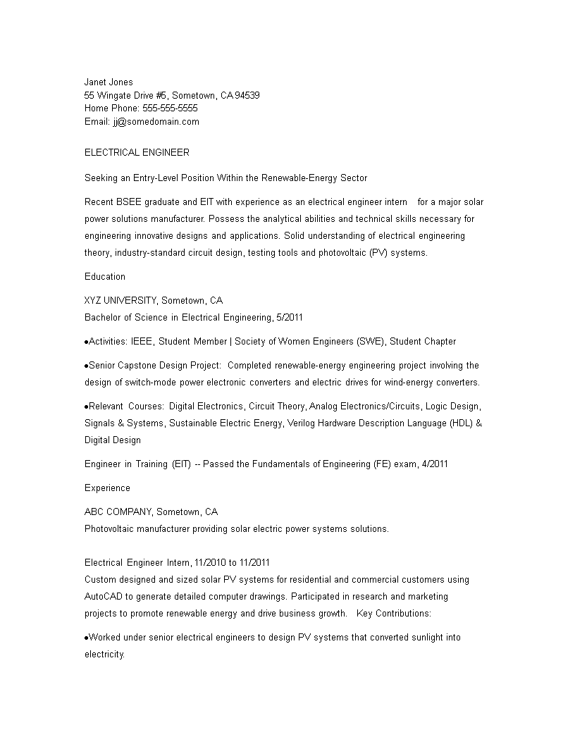 免费Electrical Engineering Student Resume sample | 样本文件在 ...