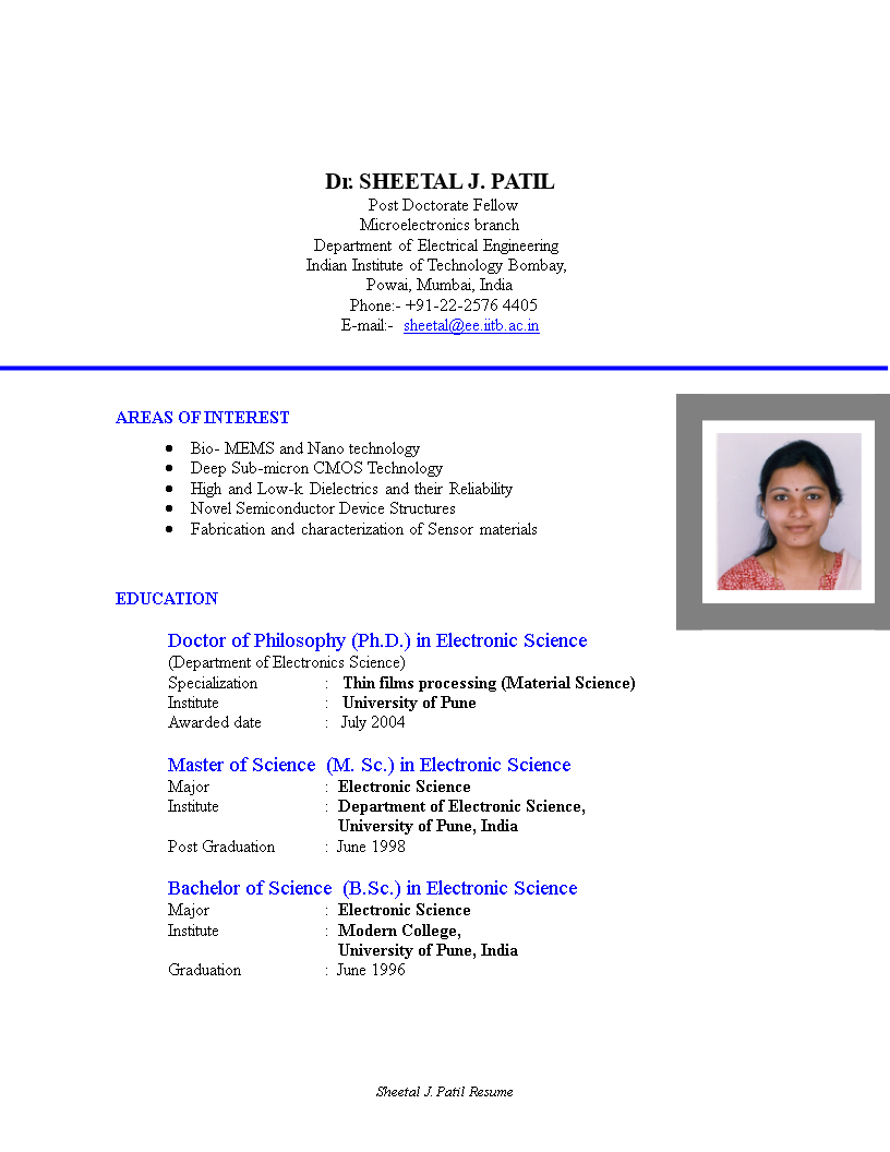 Technical Resume Format main image