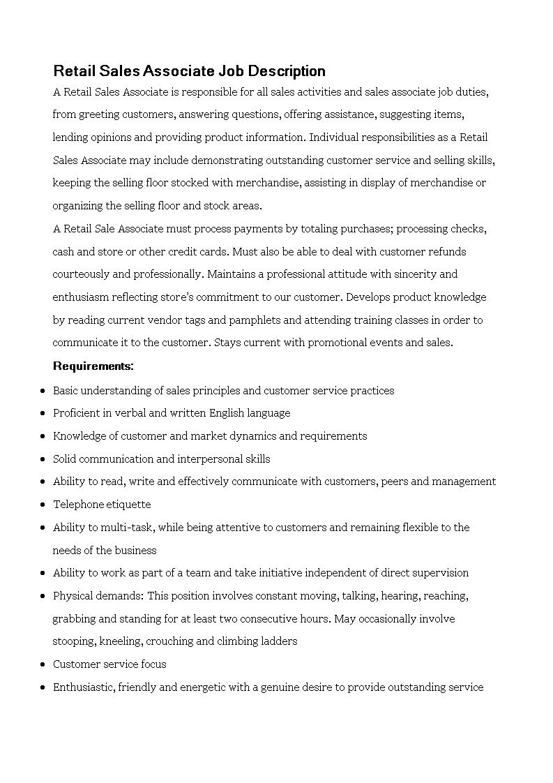 retail associate job description