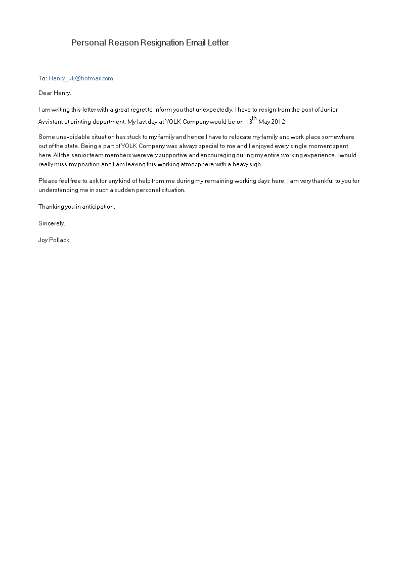 free personal reason resignation email letter templates at
