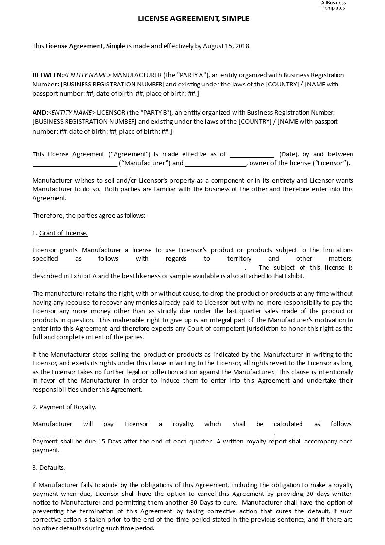 License Agreement Simple Templates At Allbusinesstemplates