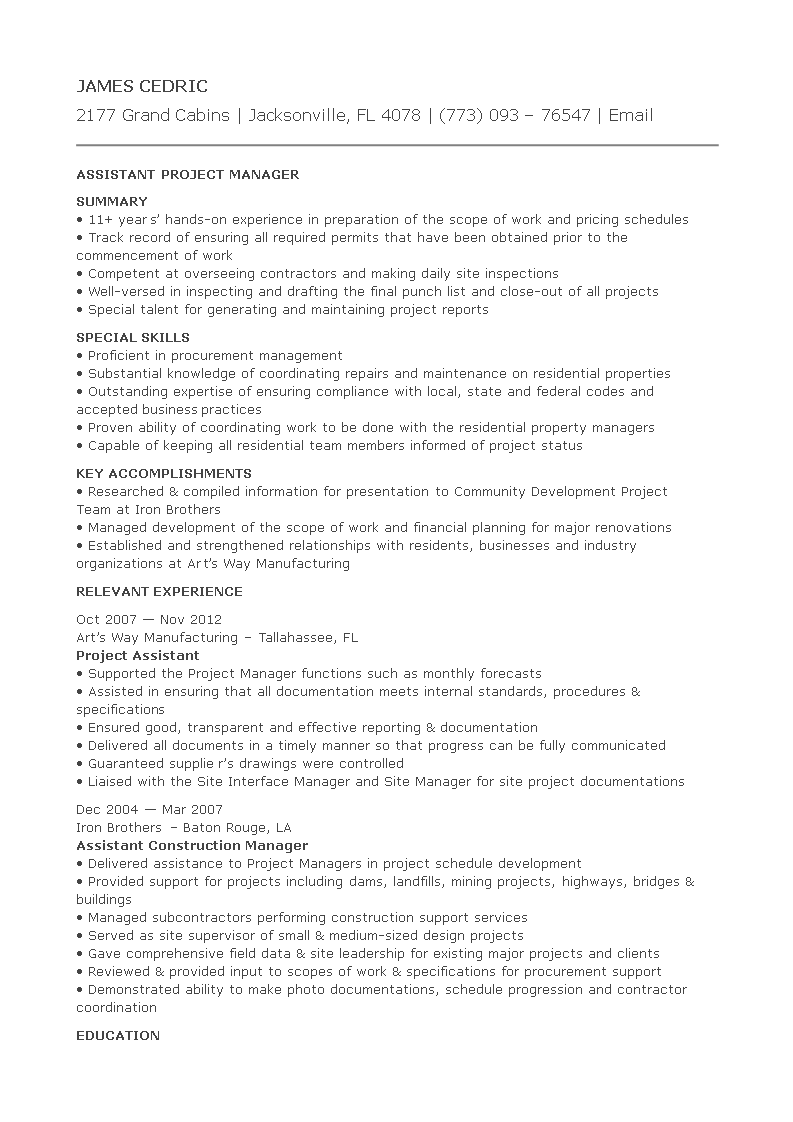assistant project manager cv  templates at