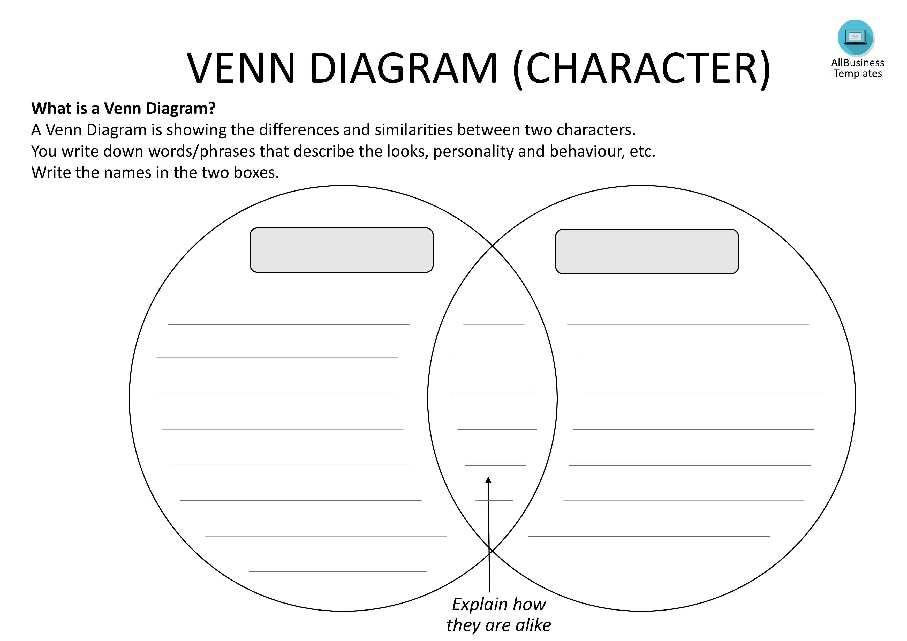 Venn Diagram Template With Lining