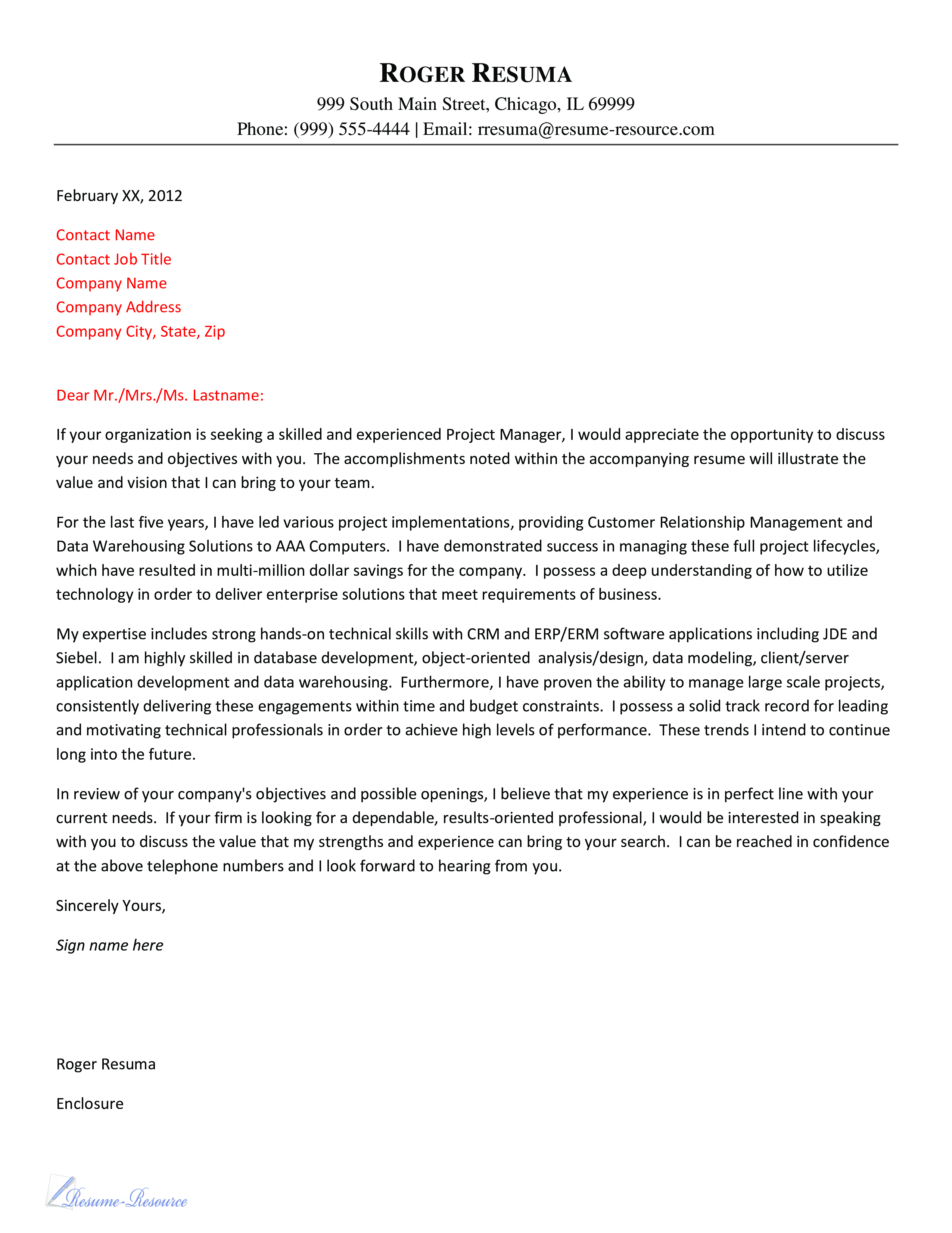 Free Cover letter Customer Relationship Manager | Templates at ...