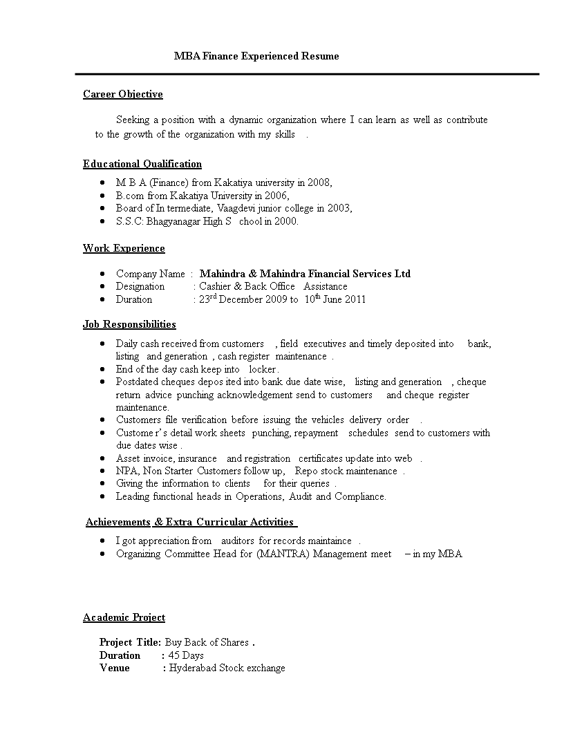 Resume Format For Mba Finance Experienced Templates At