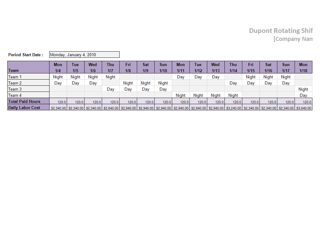 Dupont Schedule Template Worksheet Excel Templates At Allbusinesstemplates Com