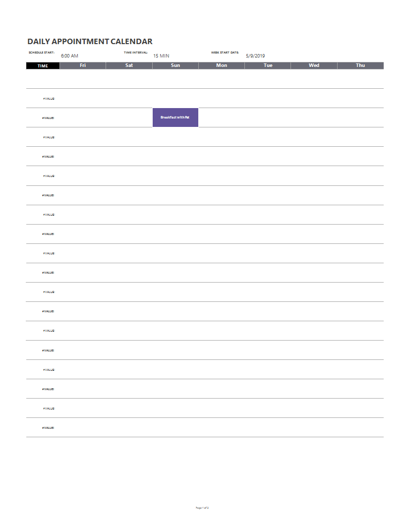 45 Printable Appointment Schedule Templates Appointment