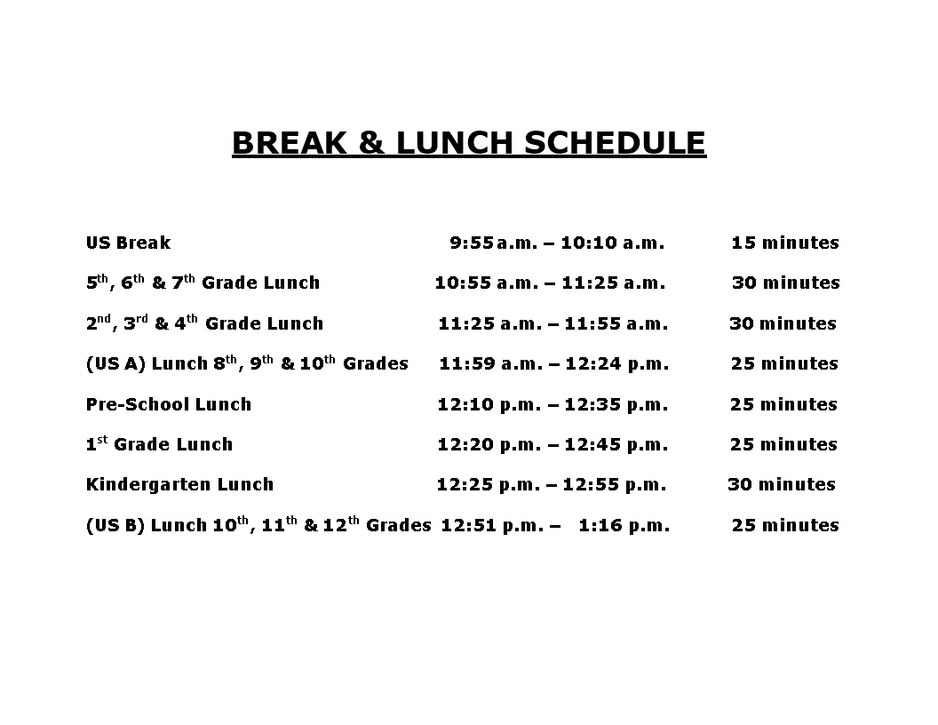 free lunch and break schedule templates at