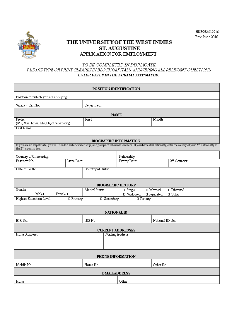 free printable employment application form templates at