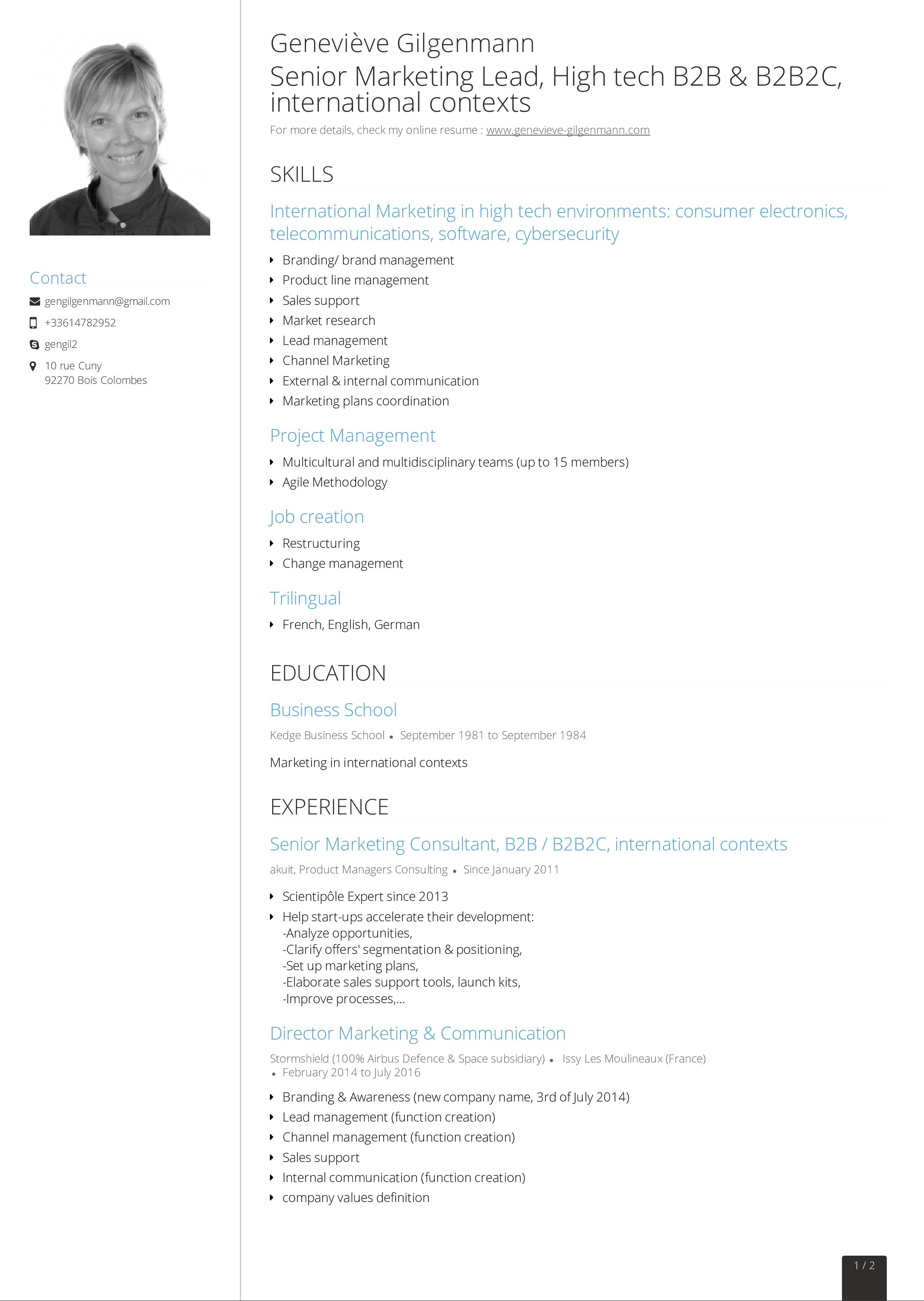 Free Senior Marketing Consultant Resume | Templates at ...