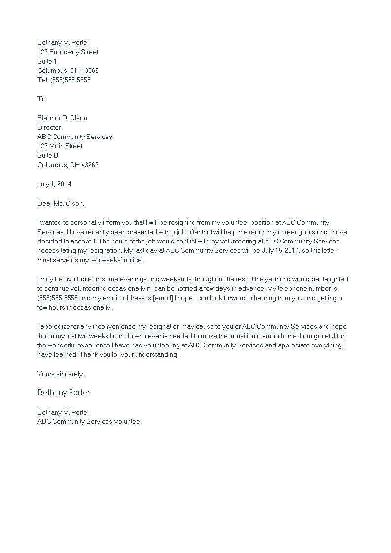 Volunteer Position Resignation Letter Main Image
