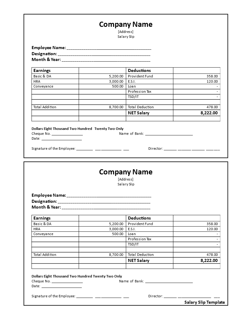 Salary Receipt Voucher Templates At Allbusinesstemplates Com