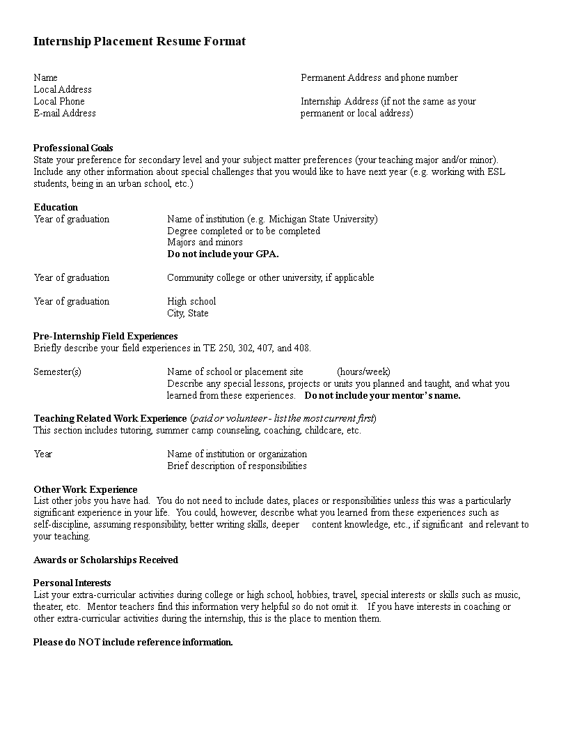 Summer Internship Resume Templates At
