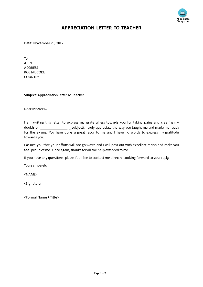 Free Appreciation Letter To Teacher Templates At