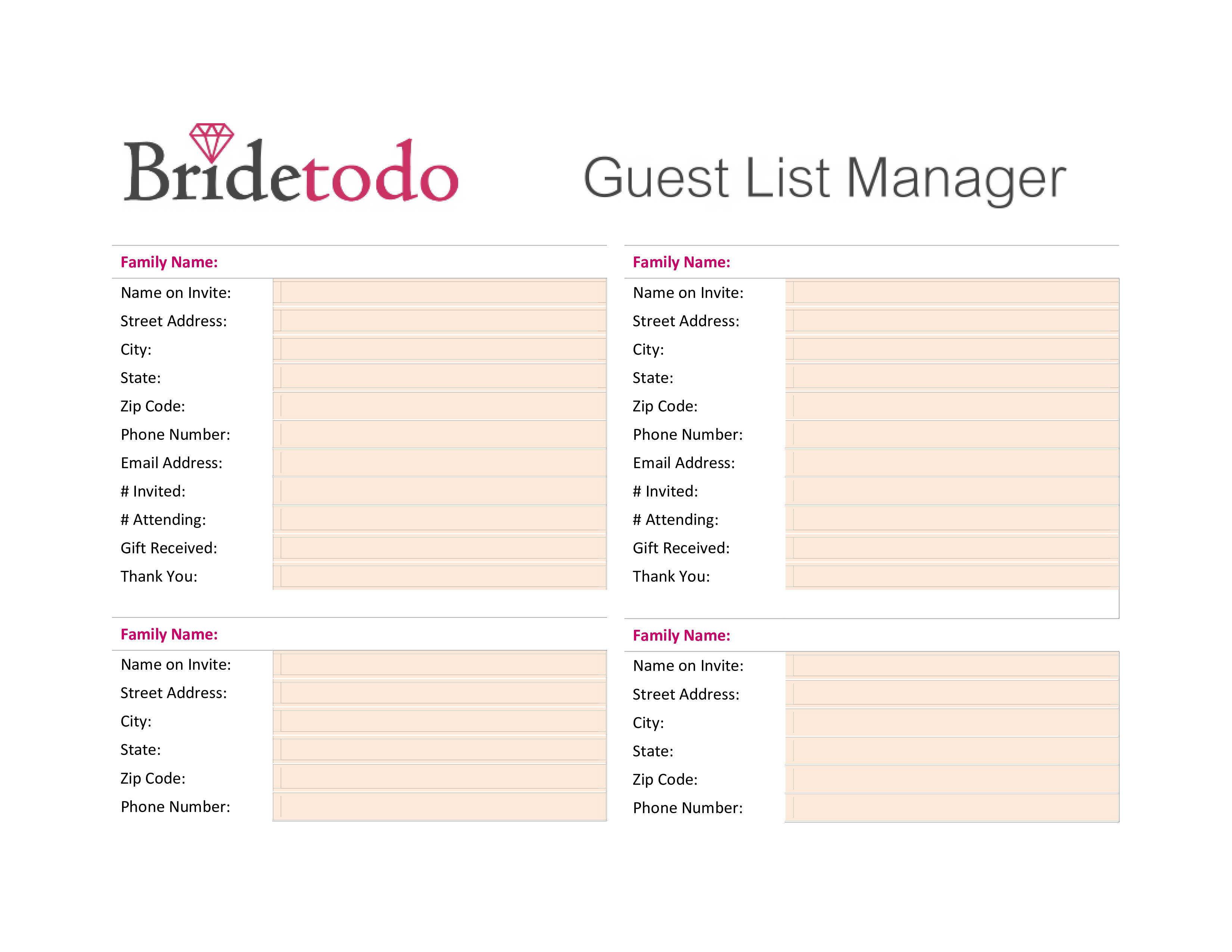 free printable wedding guest list templates at