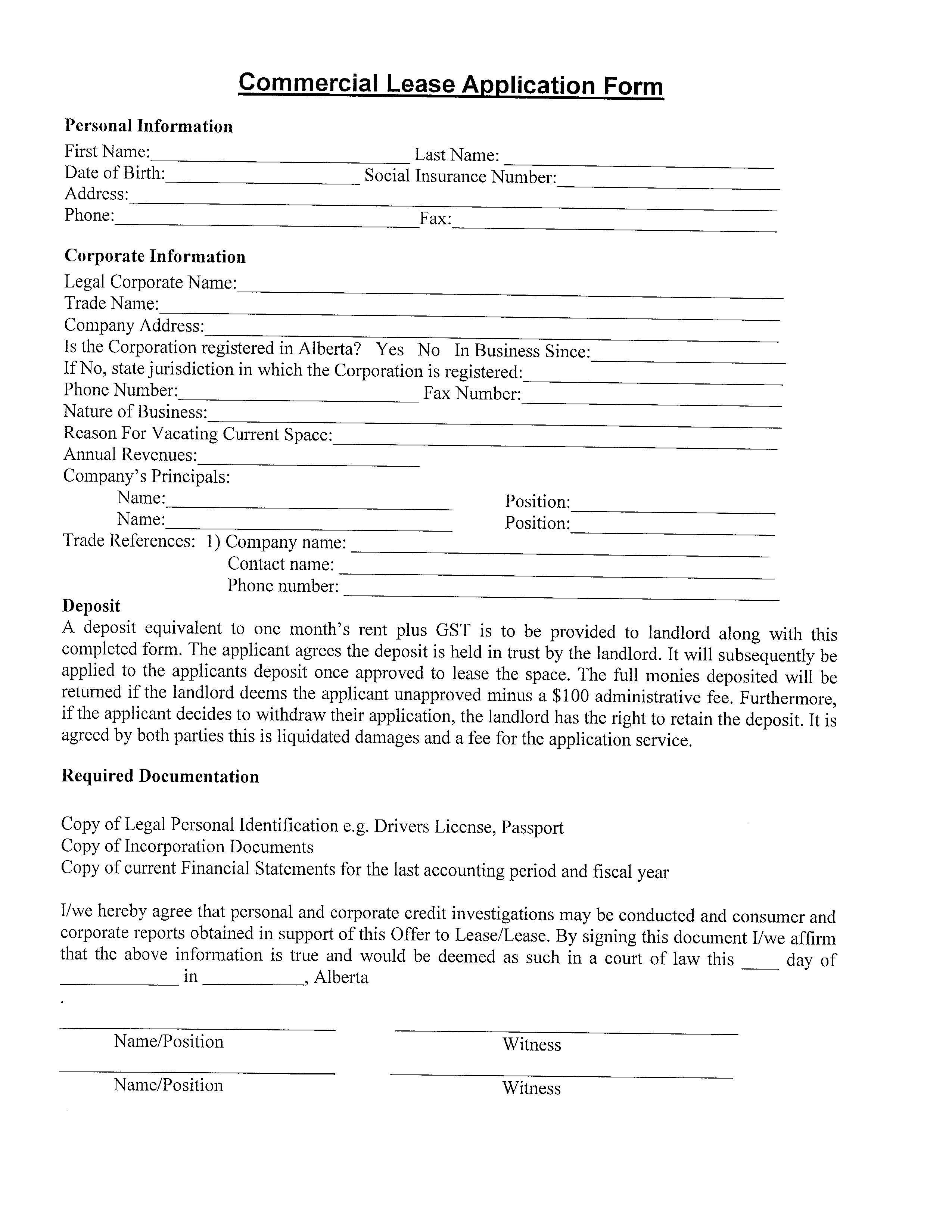 Free Blank Commercial Lease Application Form Templates At