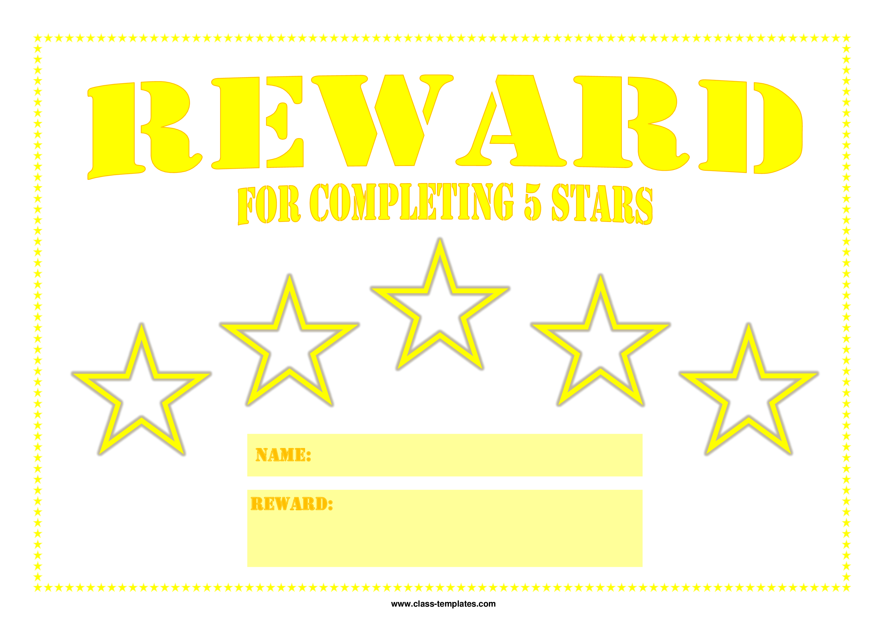 5 Star Printable Reward Certificate Main Image Download Template  Name A Star Certificate Template