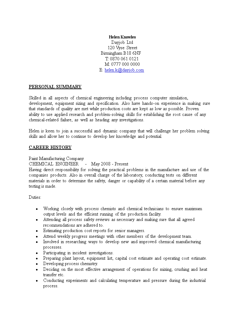 Chemical Engineering Resume Sample Main Image