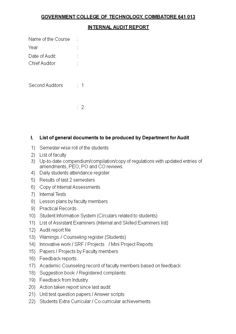 Internal Audit Report Template Templates At Allbusinesstemplates Com