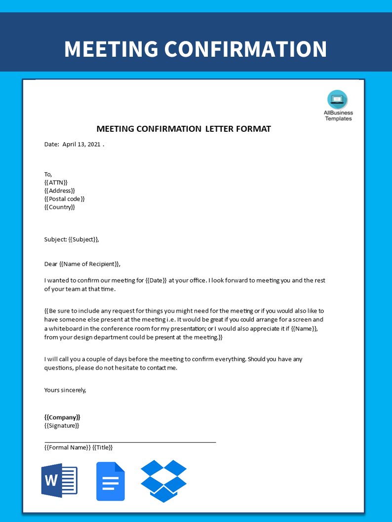 Free business meeting confirmation letter templates at business meeting confirmation letter main image download template spiritdancerdesigns Gallery