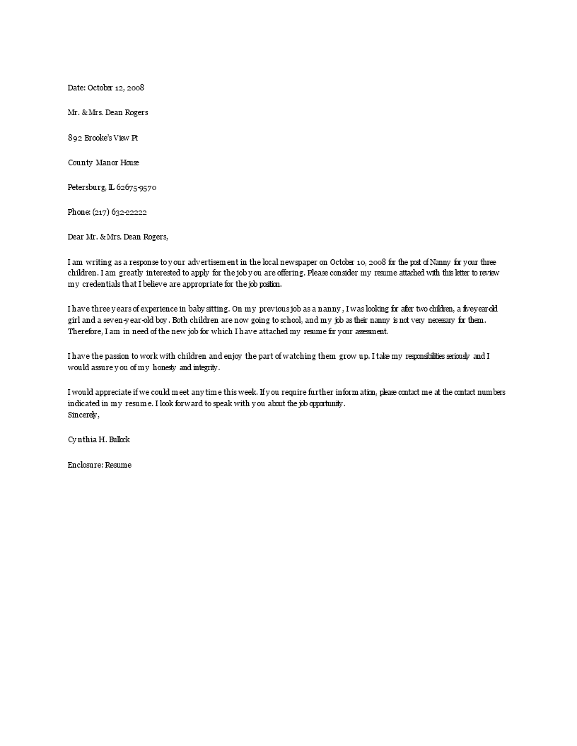 510 k cover letter - free nanny resume cover letter templates at