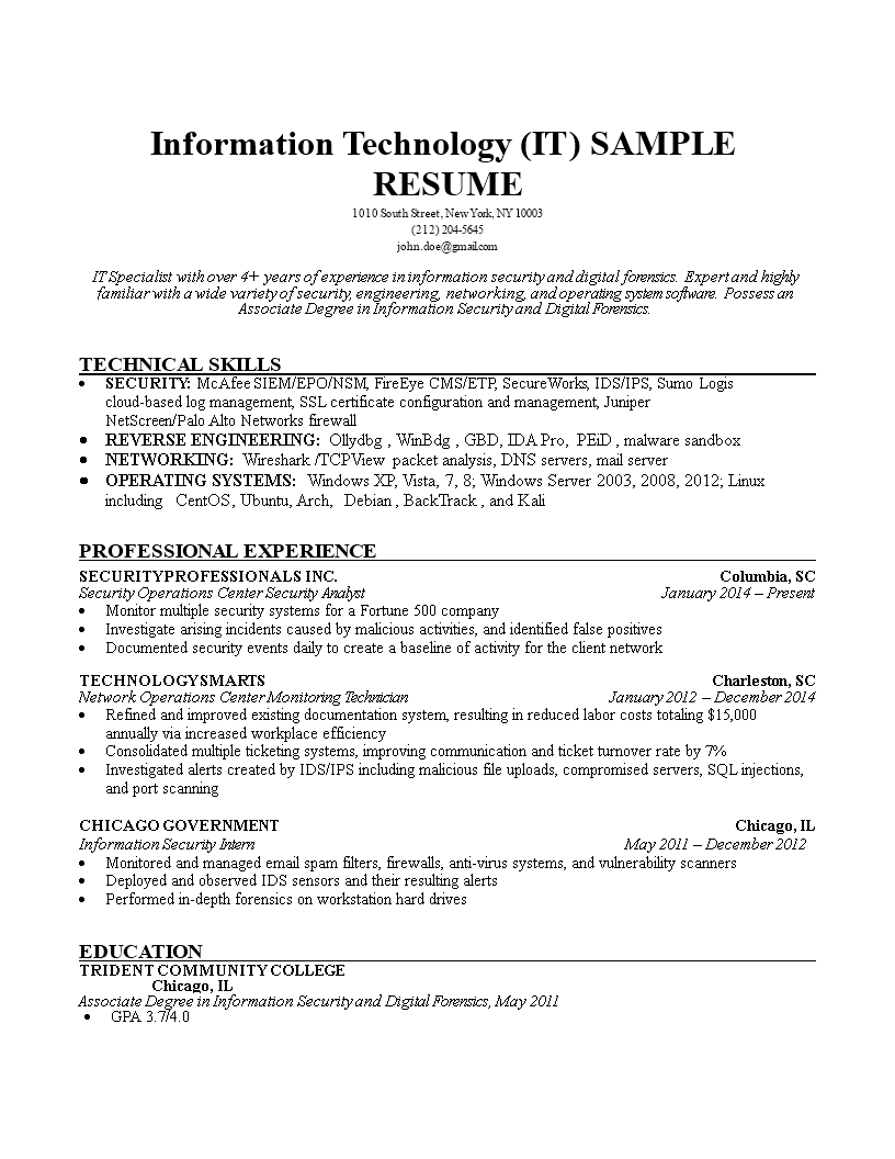 Free Information Technology It Resume Templates At