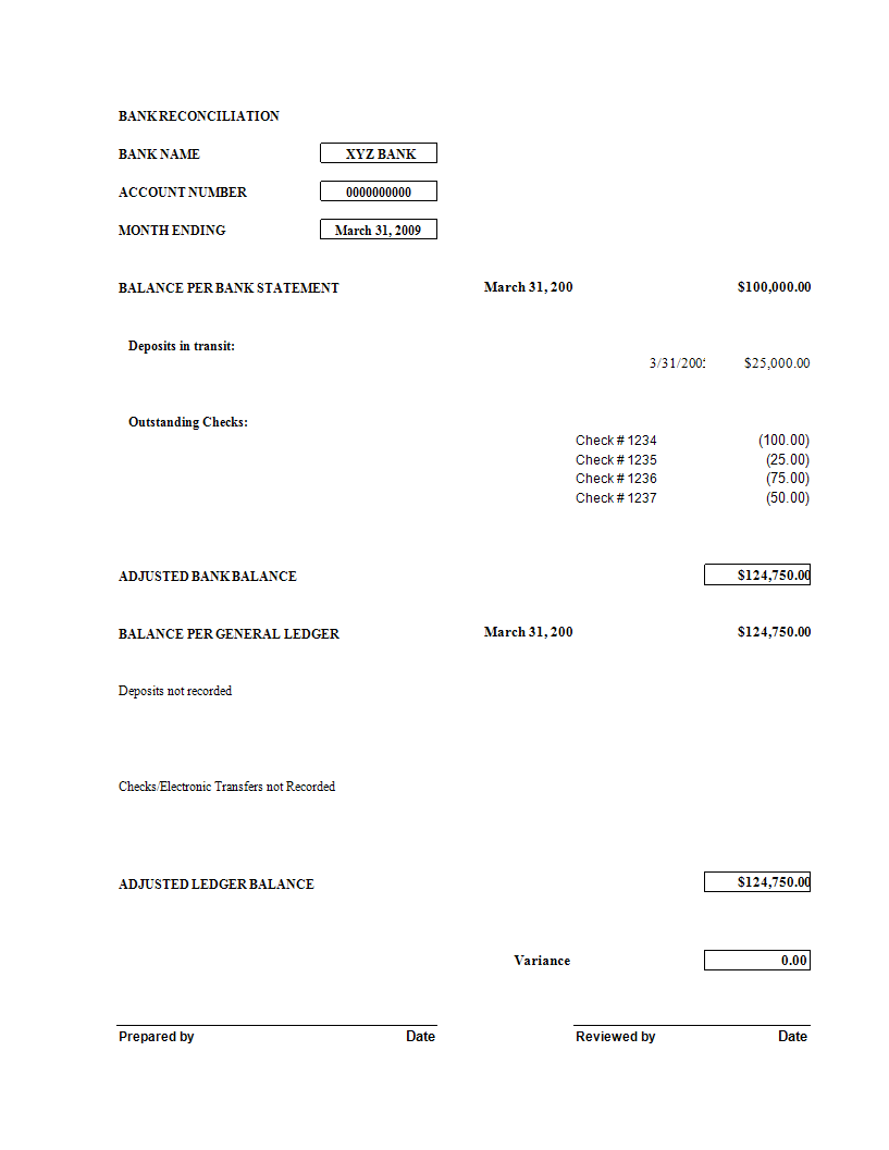 Bank Reconciliation worksheet excel template main image