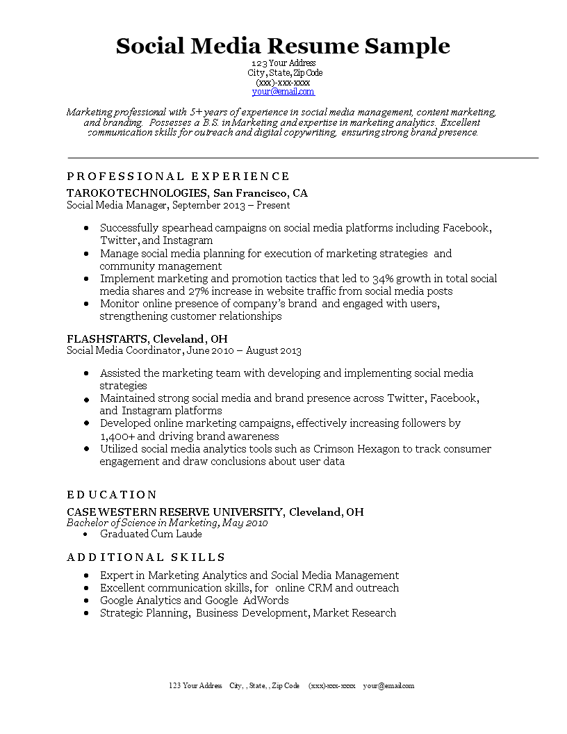 Free Social Media Resume | Templates at allbusinesstemplates.com