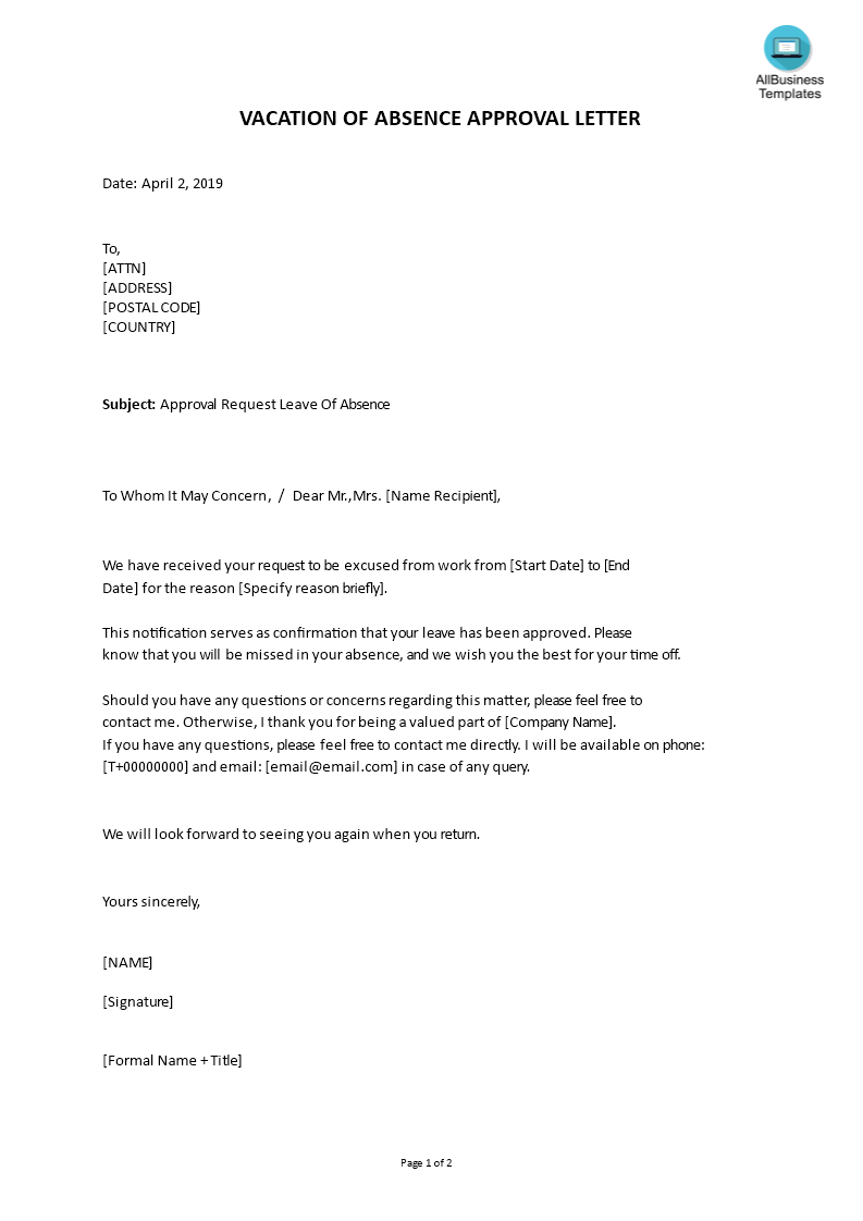 Vacation Of Absence Approval Letter | Templates at ...