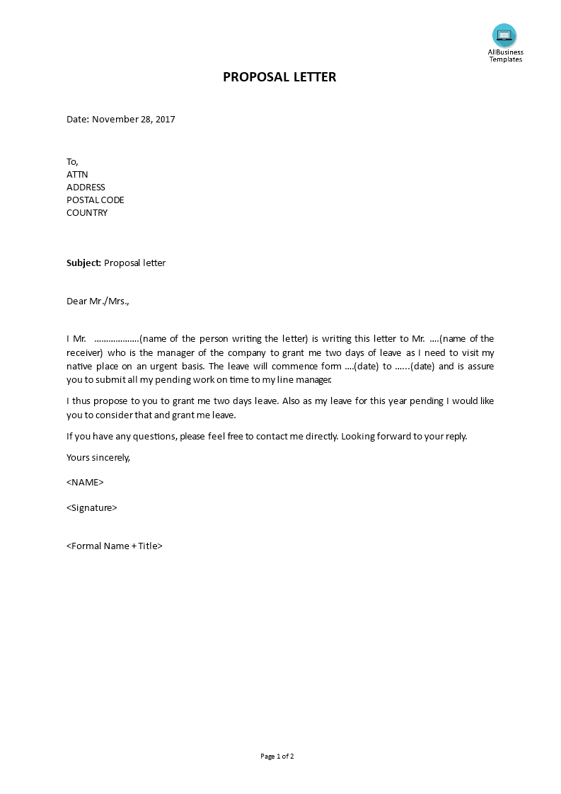 Free example of proposal letter templates at allbusinesstemplates example of proposal letter main image spiritdancerdesigns Image collections