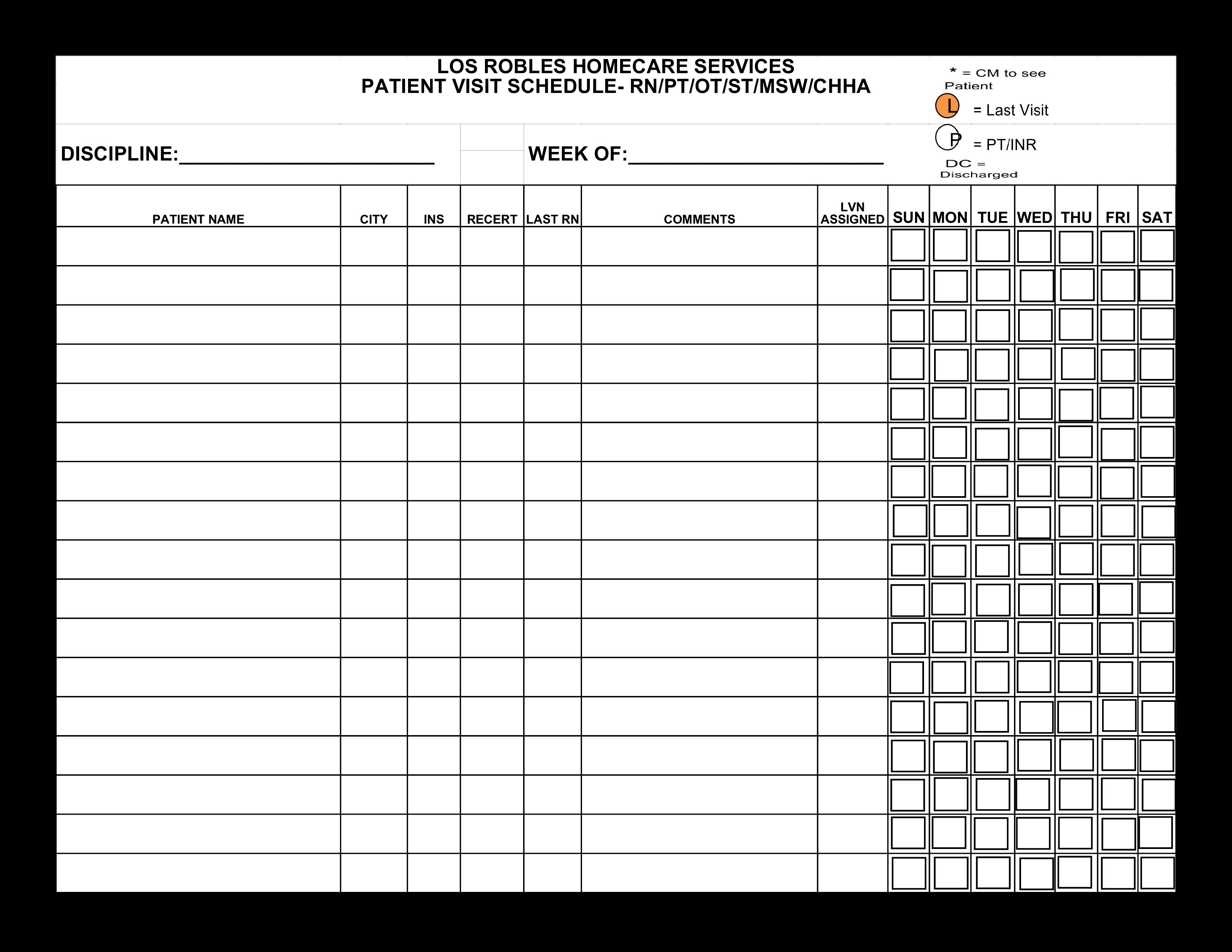 patient visit schedule