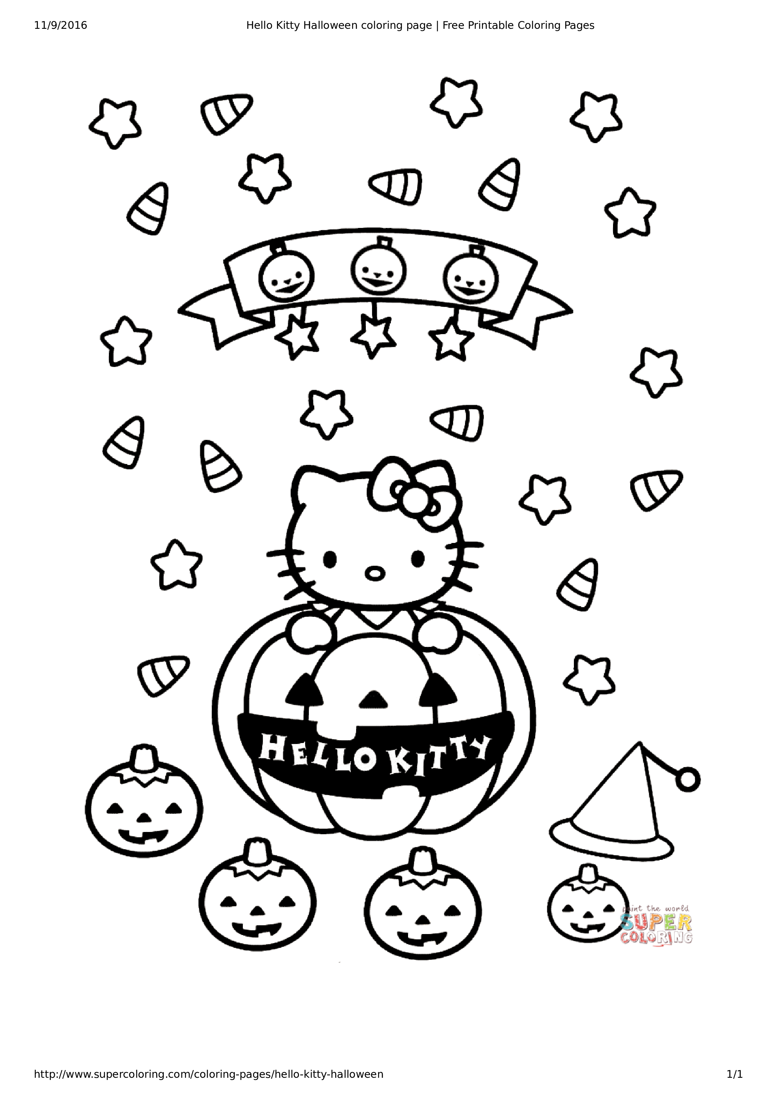 Hello Kitty Christmas Coloring Page Main Image