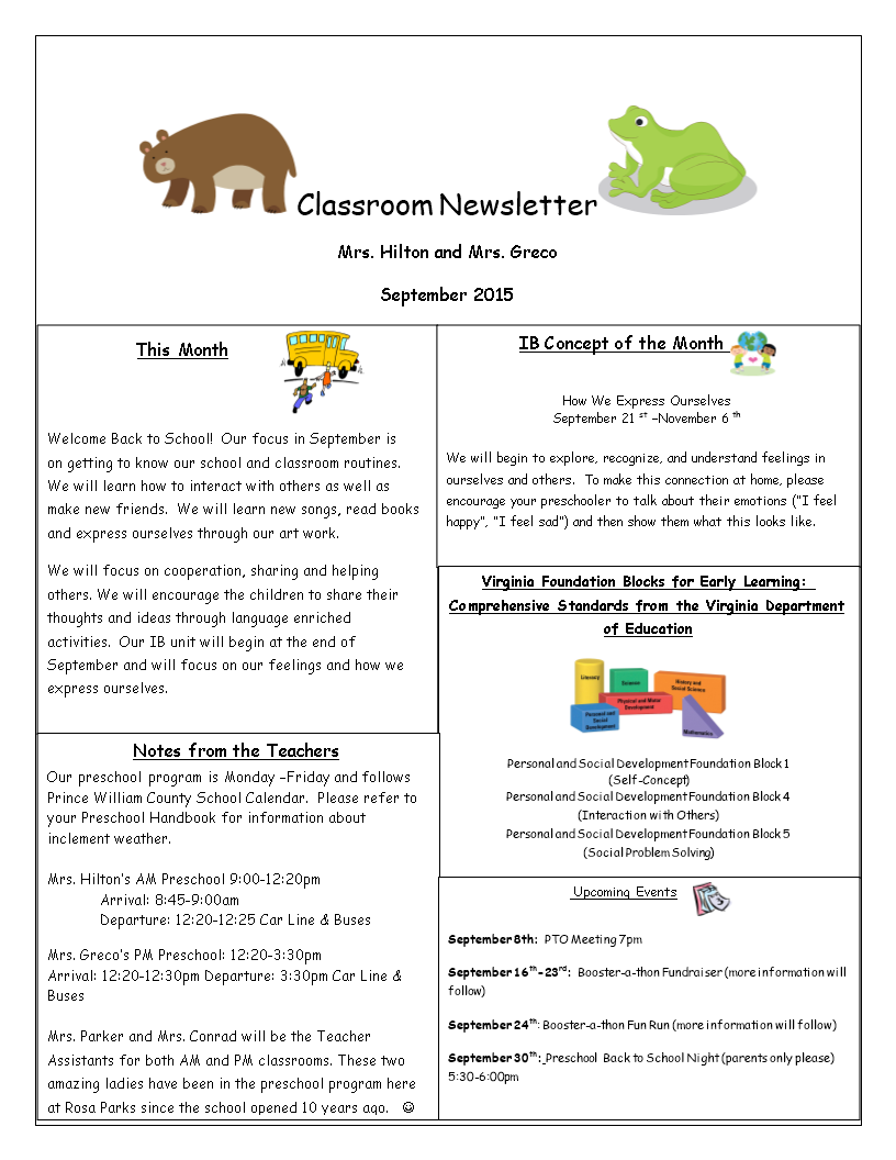 free one page classroom newsletter templates at