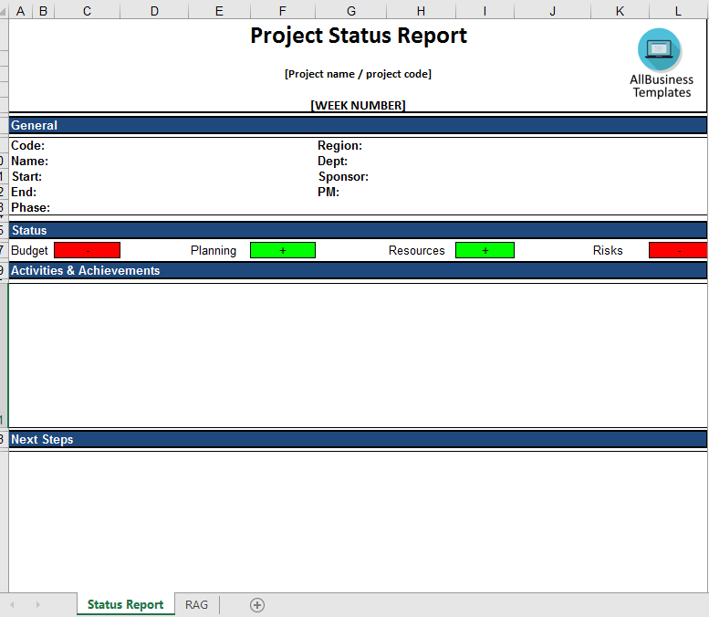 Project Status Report Excel template main image