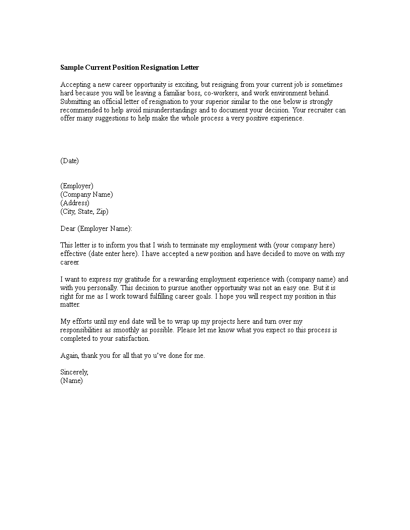 Free Best Resignation Letter Format Templates At