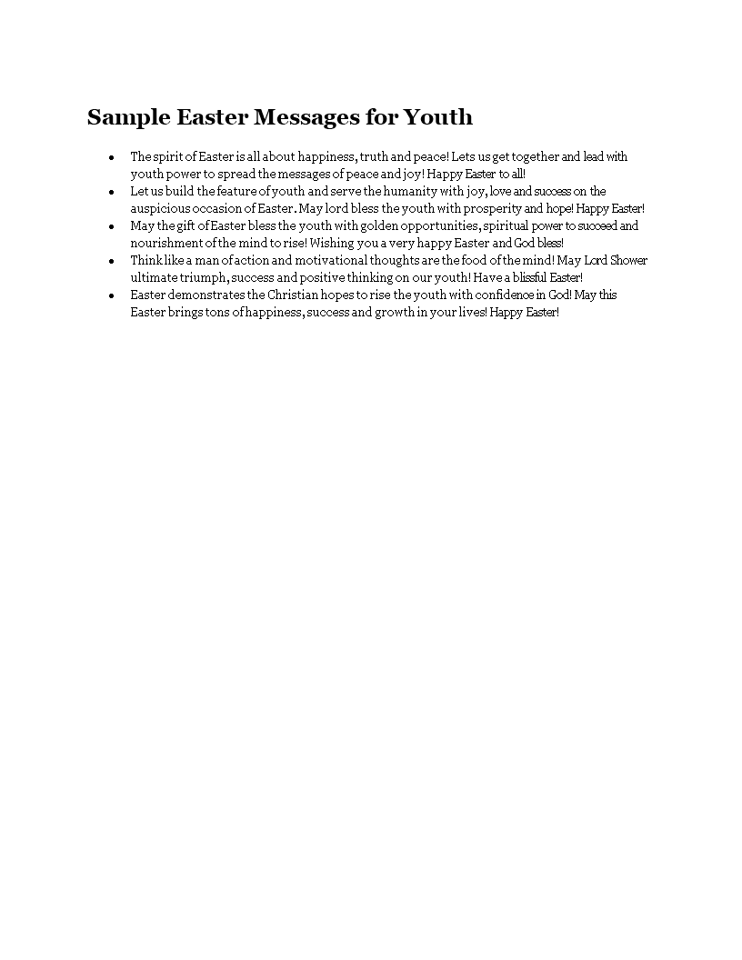 Free sample easter messages for youth templates at sample easter messages for youth main image m4hsunfo