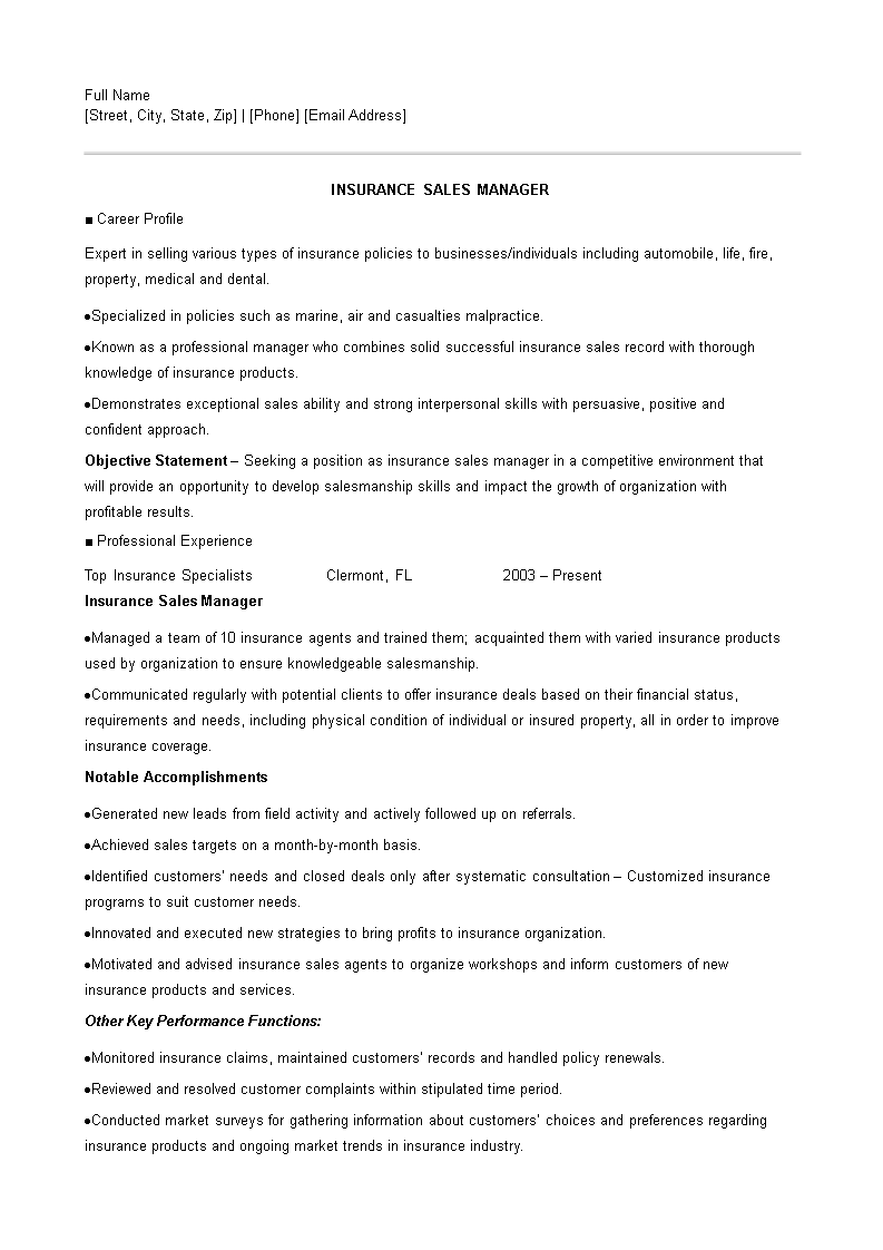 Free Resume Of An Insurance Sales Executive Templates At