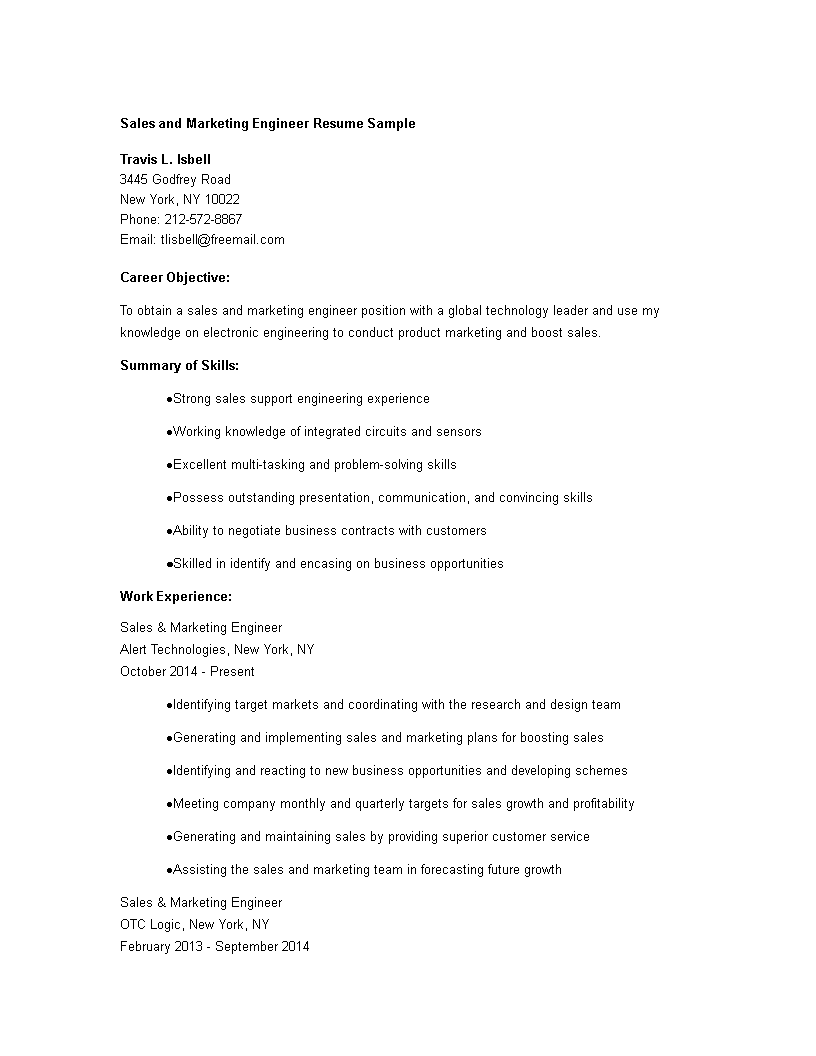 sales marketing engineer resume main image download template