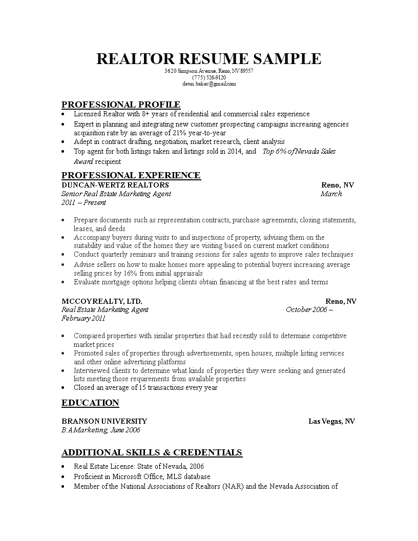 Free Real Estate Marketing Executive Resume Templates At