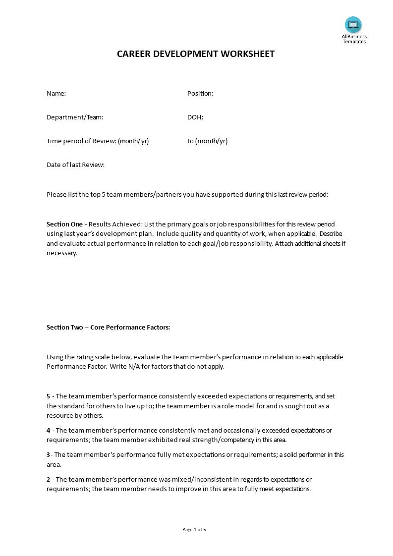 hr career development worksheet templates at. Black Bedroom Furniture Sets. Home Design Ideas