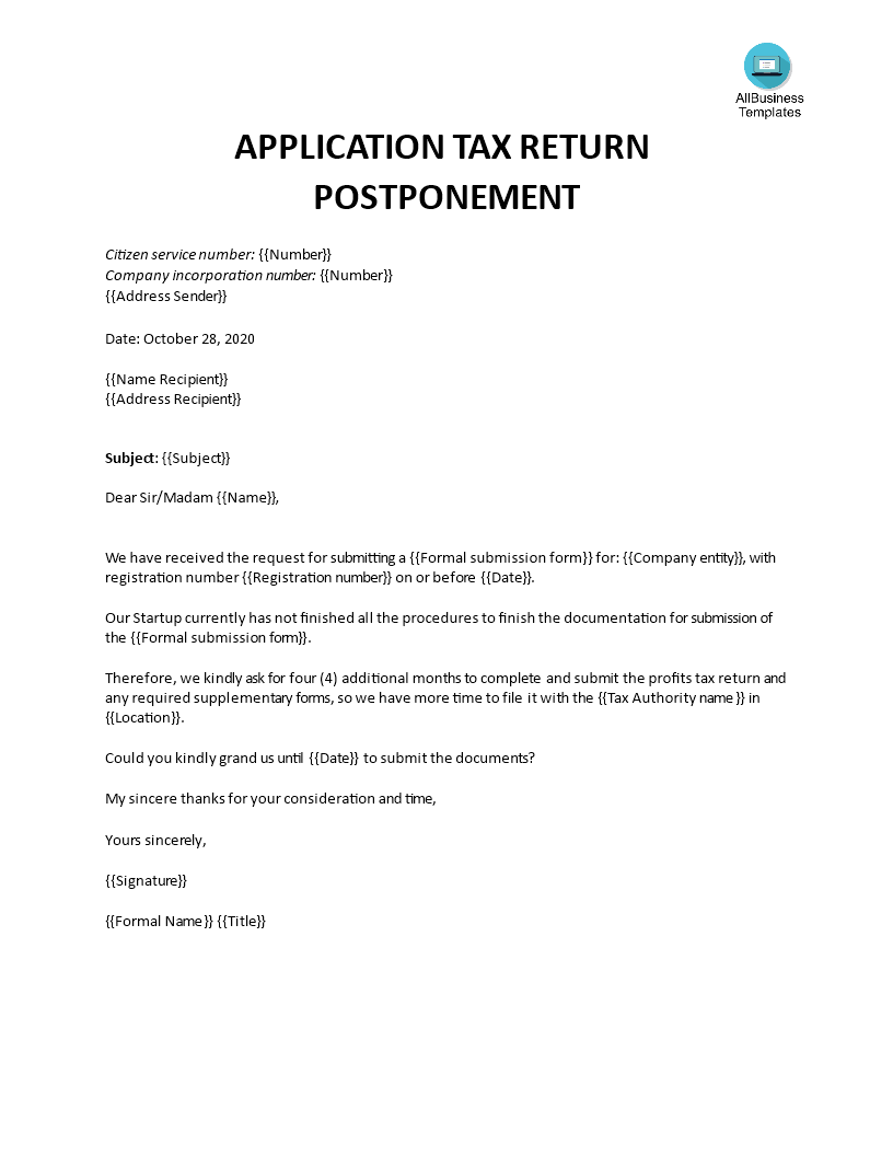 Request for tax return postponement template main image