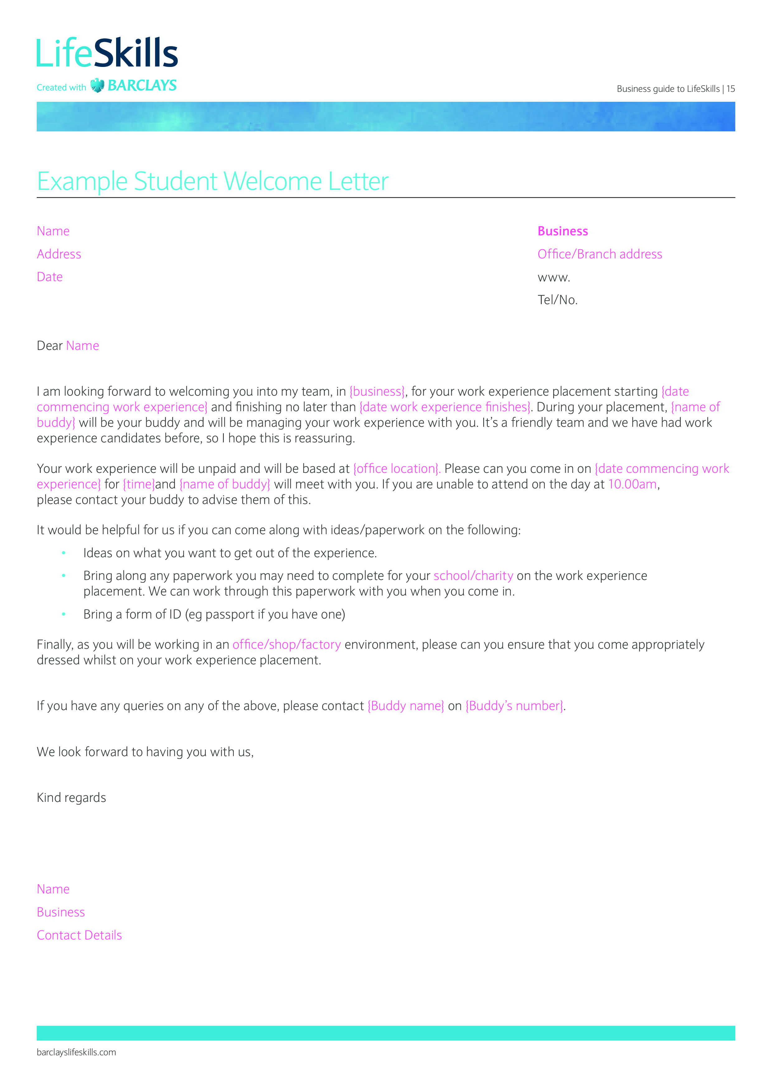 Student Welcome Letter Templates At