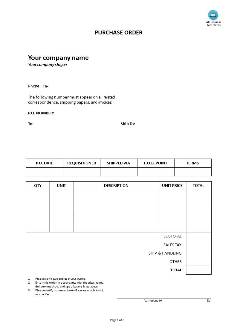 高级Purchase Order Format | 样本文件在allbusinesstemplates.com