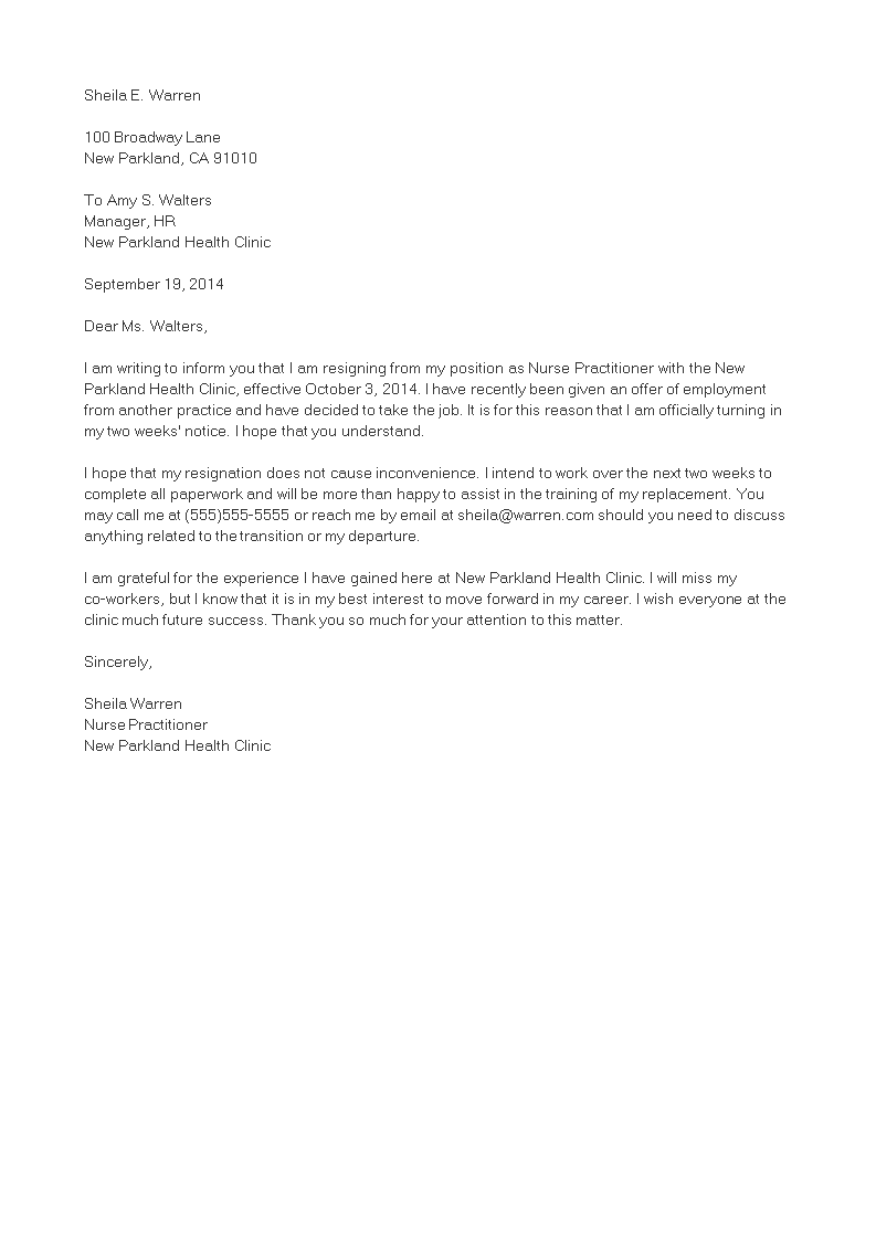 Nurse Practitioner Resignation Letter Main Image