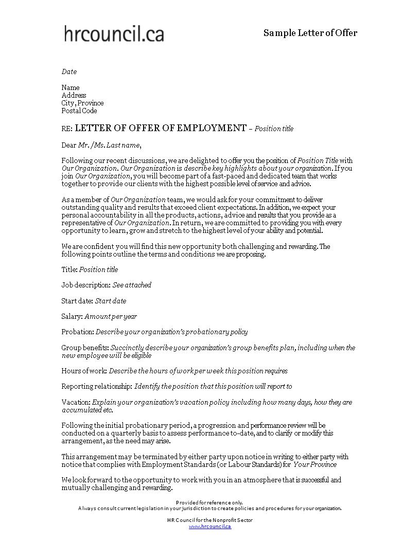 gratis formal offer of employment letter