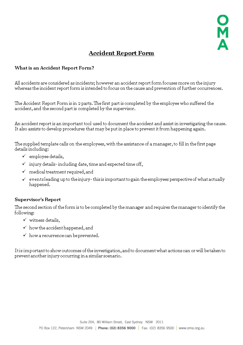 Construction Job Site Incident Report Form Main Image Download Template
