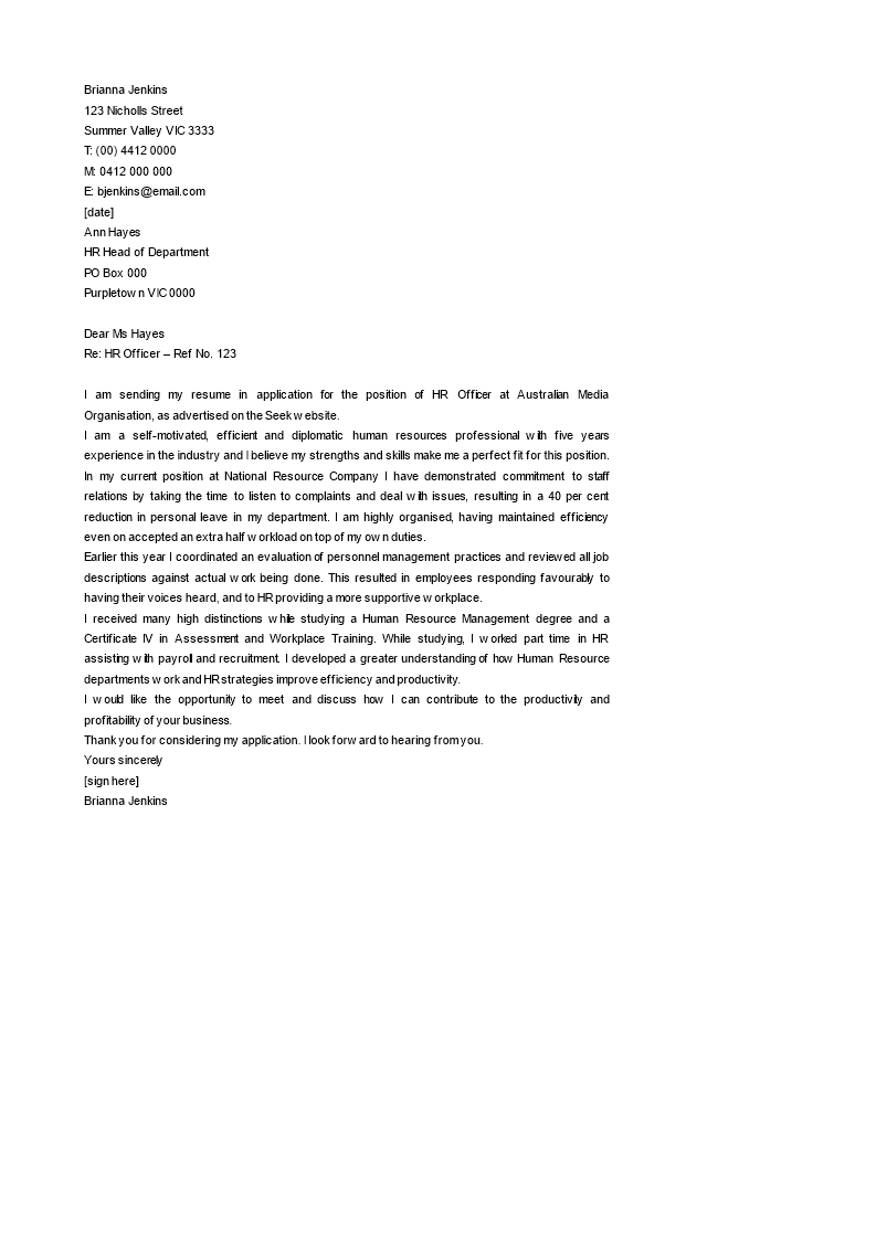 Human Resources Officer Cover Letter